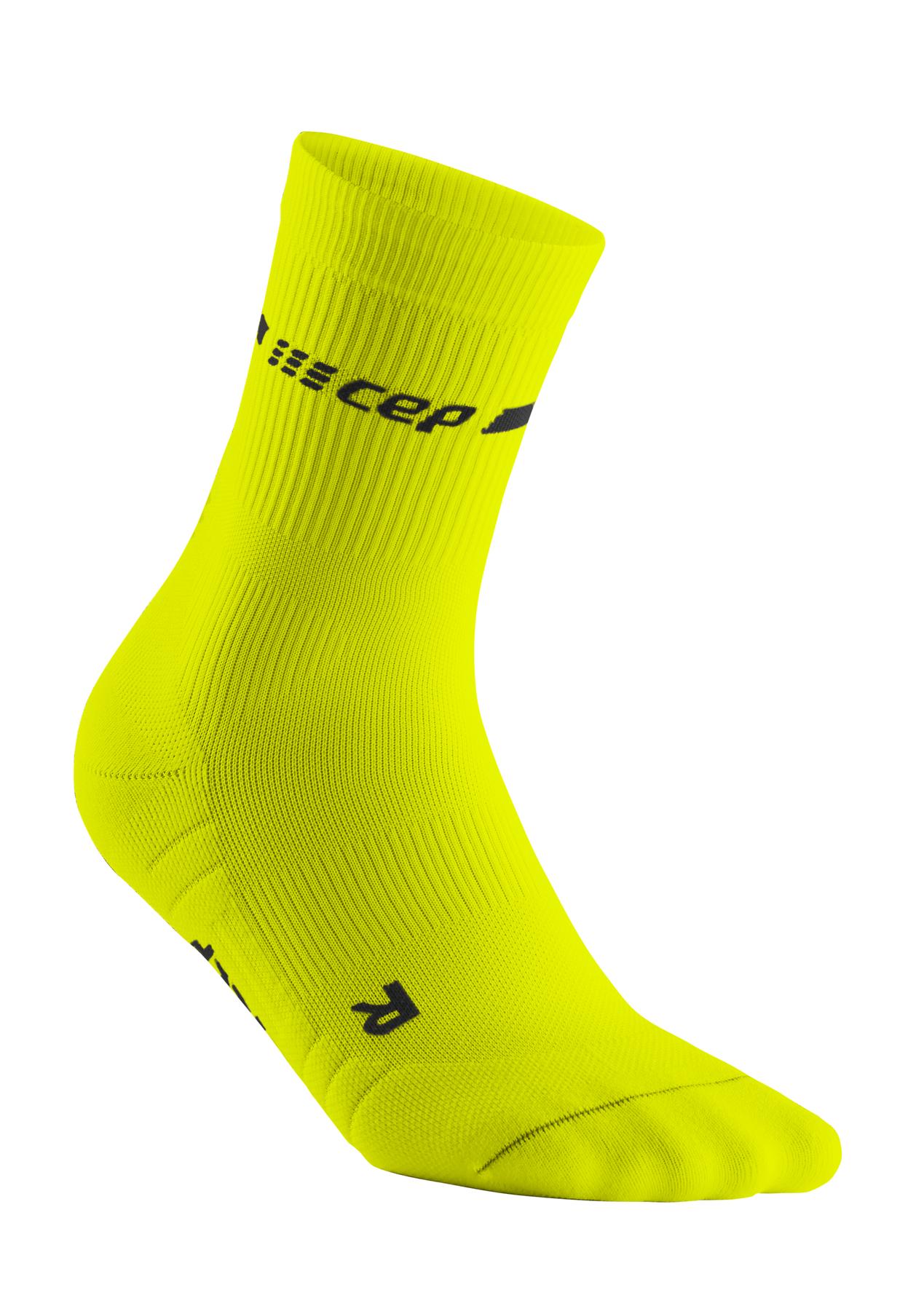 CEP neon mid-cut socks, neon yellow
